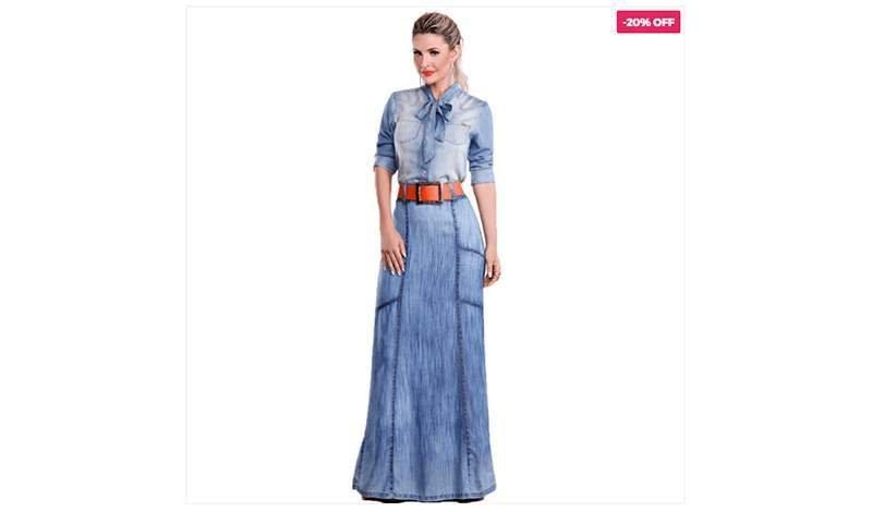 tendencia all jeans saia longa blog via tolentino