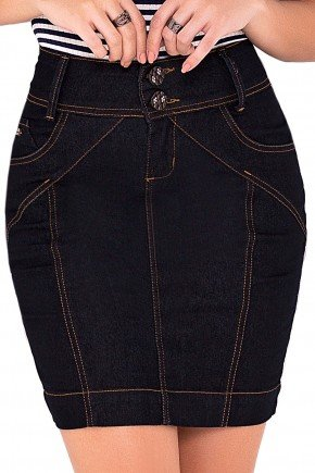saia tradicional jeans escura curta laura rosa viaevangelica frente detalhe