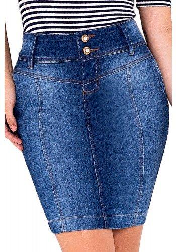 saia tradicional jeans botoes laura rosa viaevangelica frente detalhe