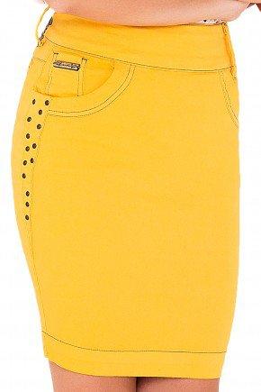 saia justa tradicional amarelo laura rosa viaevangelica frente detalhe