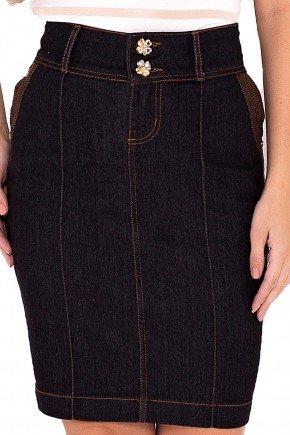 saia jeans preto detalhe recorte laura rosa viaevangelica frente detalhe