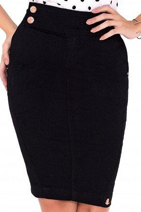 saia jeans preto detalhado botoes laura rosa viaevangelica frente detalhe