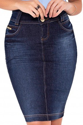 saia jeans azul escuro mid laura rosa viaevangelica frente detalhe