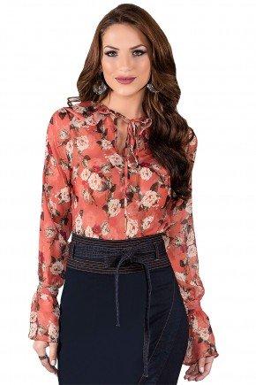 blusa manga longa flare estampa floral salmao titanium viaevangelica frente