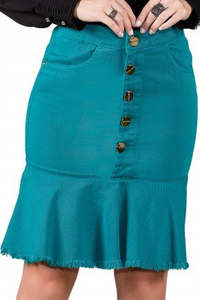 saia jeans sino collor verde agua titanium viaevangelica frente detalhe