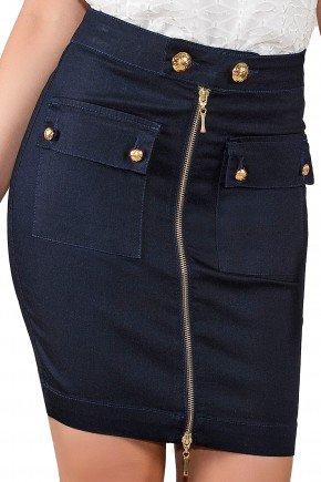 saia lapis ziper frontal jeans escuro titanium viaevangelica frente detalhe