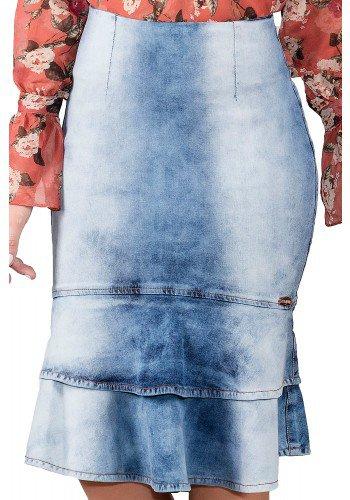 saia jeans claro sino detalhado em babados titanium viaevangelica frente detalhe