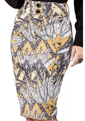 saia jeans midi estampada tradicional titanium viaevangelica frente detalhe