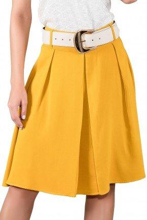 saia gode pregas color amarela com cinto titanium viaevangelica frente detalhe