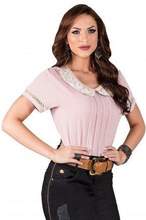 blusa rose bordada guipir manga curta com entremeio titanium viaevangelica frente 2