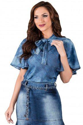 blusa jeans gola laco mangas amplas titanium viaevangelica frente 2