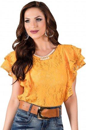 blusa manga curta amarela em renda titanium viaevangelica frente 2