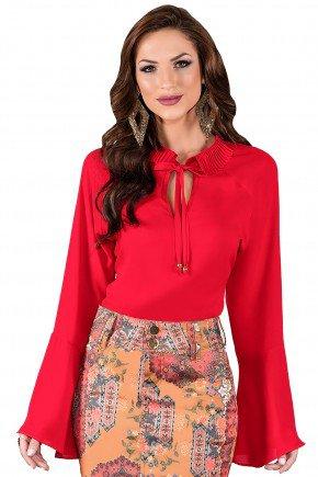 blusa vermelha manga longa sino gola plissada amarracao titanium viaevangelica frente