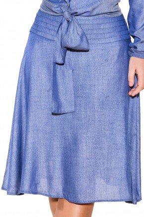 saia gode tecido leve midi listras cintura titanium viaevangelica frente detalhe