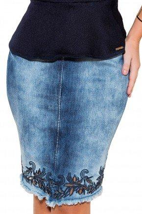 saia tradicional jeans bordados florais barra vazados titanium viaevangelica frente detalhe fileminimizer