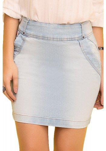 saia reta jeans clara curta laura rosa viaevangelica frente detalhe