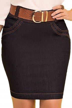saia reta jeans escuro curta com cinto marrom laura rosa viaevangelica frente detalhe