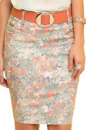 saia reta estampa abstrata com cinto laranja laura rosa viaevangelica frente detalhe