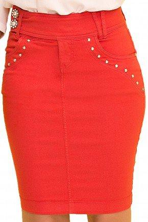 saia tradicional vermelha com aplicacao de tachinhas laura rosa viaevangelica frente detalhe