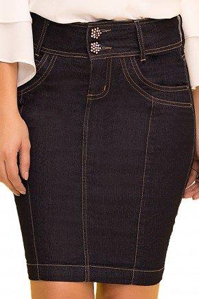saia tradicional curta jeans escuro laura rosa viaevangelica frente detalhe
