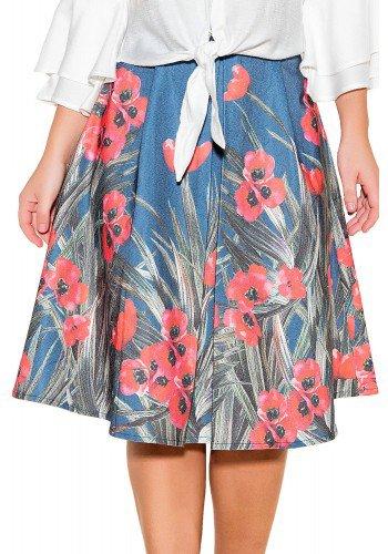 saia gode jeans escuro estampa floral e folhagem midi titanium viaevangelica frente detalhe fileminimizer