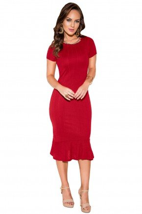 vestido sino midi vermelho manga curta malha retilinea decote bordado titanium viaevangelica frente fileminimizer