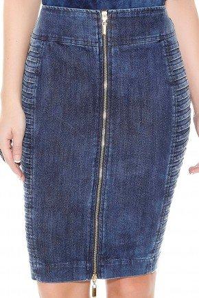 saia lapis jeans escuro nervuras laterais ziper frontal titanium frente detalhe