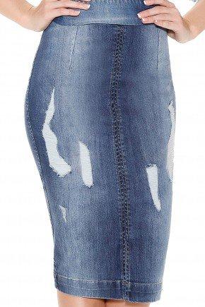 saia jeans justa tradicional midi puidos titanium frente detalhe