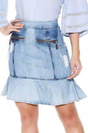 saia sino jeans claro curta ziper frontal e puidos titanium frente detalhe