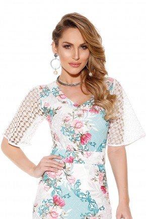 blusa manga ampla rendada estampa floral e arabescos titanium frente