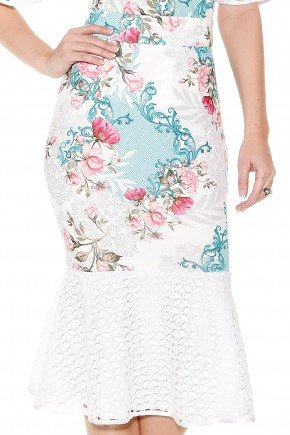 saia sino midi off white e azul estampa floral barra rendada titanium frente detalhe