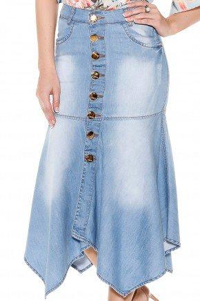saia evase jeans claro midi assimetrica botoes frontais titanium frente detalhe