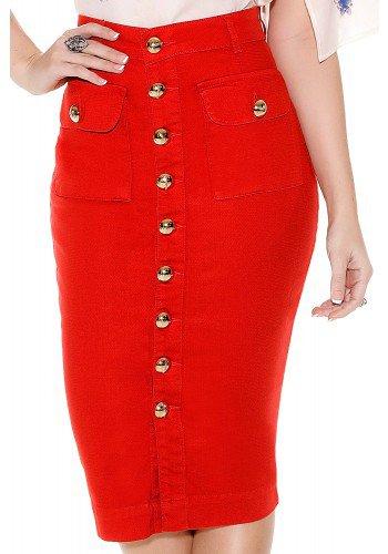 saia jeans collor vermelha midi cos alto lapis bolsos e botoes frontais titanium frente detalhe