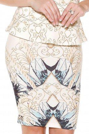 saia off white lapis justa estampa arabescos e abstratas titanium frente detalhe