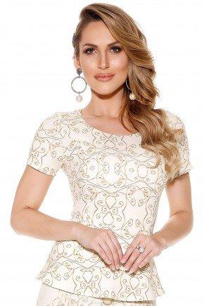 blusa off white peplum estampa arabescos dourados manga curta titanium frente