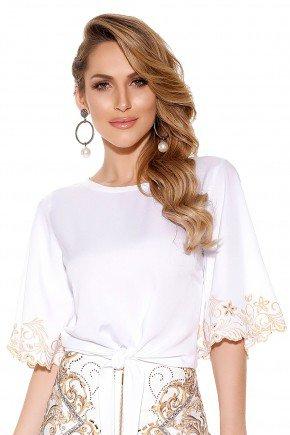 blusa off white manga ampla bordado a laser dourado amarracao cintura titanium frente