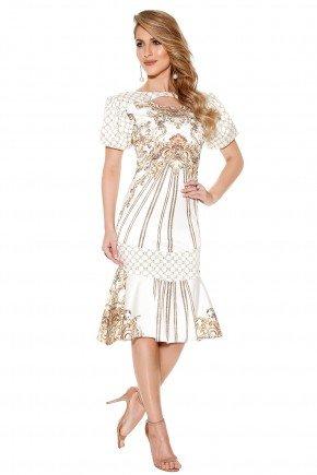 vestido sino estampa arabescos e geometricas decote vazado titanium frente