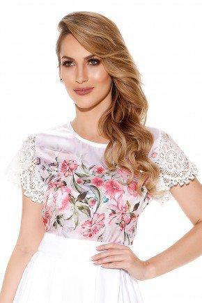 blusa off white acetinada estampa floral manga rendada titanium frente