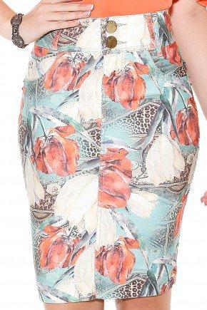 saia tradicional reta estampa floral folhagem e animal print titanium frente detalhe