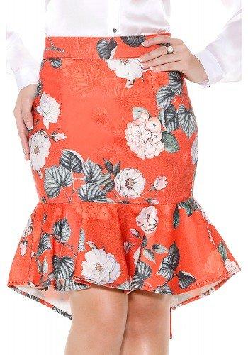 saia sino laranja assimetrica estampa floral branca e folhagens titanium frente detalhe