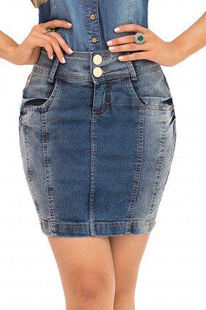 saia jeans nervuras laura rosa recorte frente