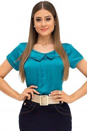 blusa turquesa decote redondo laura rosa recorte frente