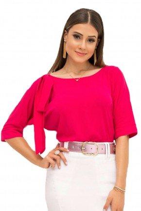 blusa bula manca pink laura rosa recorte busto frente