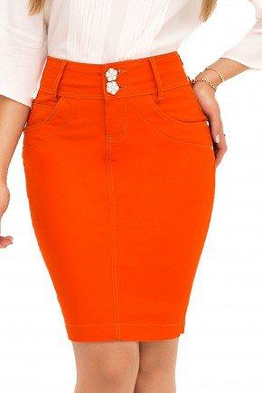 saia laranjada jeans laura rosa recorte frente