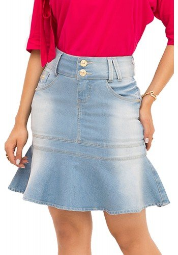 saia jeans babado clara manchado laura rosa recorte saia frente