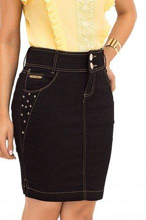 saia tradicional jeans escuro laura rosa recorte frente