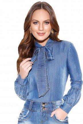 camisa jeans gola laco titanium frente