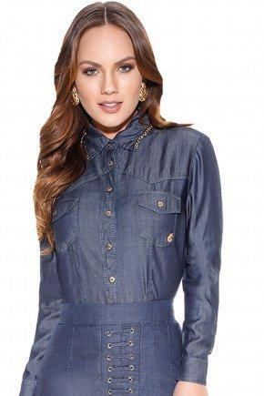 camisa jeans gola bordada titanium frente