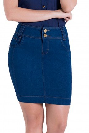 saia jeans justa collor azul laura rosa detalhes1 frente