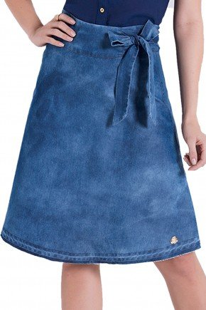 saia jeans evase laco laura rosa detalhes1 frente
